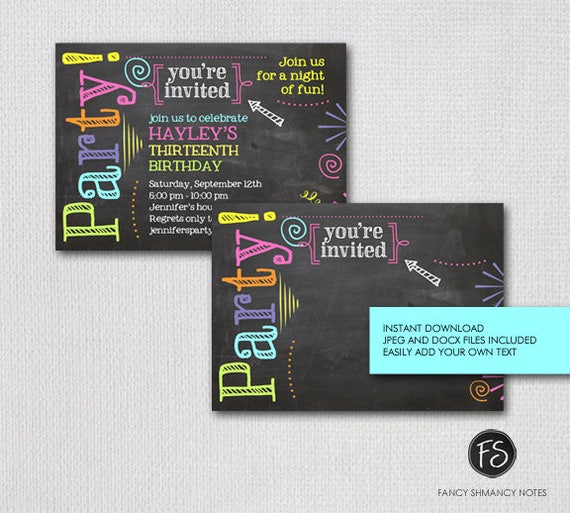 editable chalkboard birthday invitation neon colors