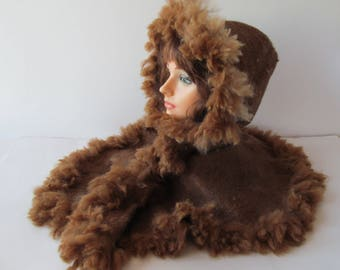 Felted hood Alpaca hood brown beige wool Hood Alpaca hooded capelet Felt warm hood Brown Wool Hat Warm felt hat Brown alpaca felted hat
