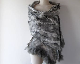 Nuno Felted scarf Grey felt scarf White Grey women scarf Grey women felt shawl  by Galafilc outdoors gift