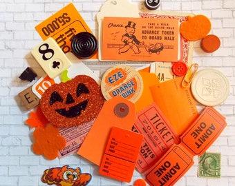 Mini Halloween Embellishment Kit / 35 Pieces / Ephemera Pack / Pocket Letters / Tags / Labels / Paper Ephemera