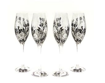 Set of 4 Hand-Painted CRYSTAL Champagne Glasses - Elegant Roses Black and Silver   - Personalized Birthday Wedding Anniversary Gifts