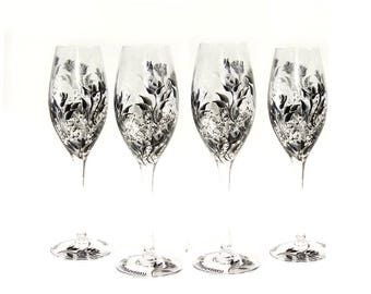 Personalized Hand-Painted Bridesmaids' Champagne Glasses - Silver and Black Roses Set of 8 - 25th Wedding Anniversary Party Gift Ideas