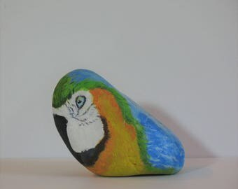 Hand Painted Rock, Blue and Gold Macaw, Parrot, nature, home decoration, paperweight, office decoration, furniture accent