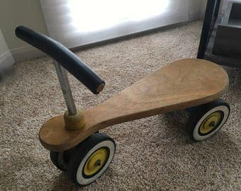 Retro vintage PLAYSKOOL Ride-On Bike Trike Wooden Seat play toy 1950s 4 Wheels Bicycle Toddler