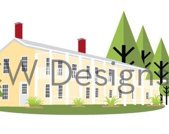 Custom House Digital Illustration - Home Portrait - Wedding Gift, Paper Anniversary, Housewarming - Realtor Closing Gift - Corporate Gifts