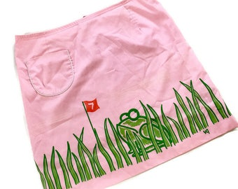 Vested Gentress Frog SKirt, vintage Golf Skirt, Pink Green Frog