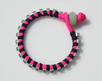 Fuchsia Rhinestone Chain Bracelet, Fuchsia Paracord Bracelet,  Summer Bracelet, Friendship Bracelet, Teen Bracelet, Beach Bracelet