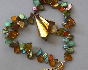 Green and Gold Leaves Necklace Gorgeous Two Tone Czech Glass Leaves  w Vintage Hammered Brass Accents Autumn Colors OOAK Jewelry