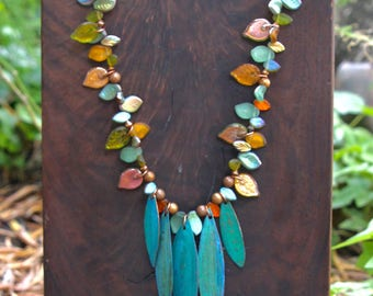 Blue Green and Amber Leaves Necklace Gorgeous AB Czech Glass Leaves  w Hand Colored Copper Leaves Autumn Colors OOAK Nature Jewelry
