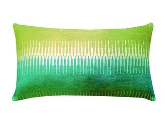 "Geometric Stripe Lumbar Pillow Cover, Mid-Century Pillows, 12""x 24"" Pillows, Aqua Green Pillows, Modern Home Decor, Mid-Century Decor"
