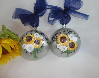 Personalized Mother of the Bride Gift, Sunflower Mother of the Groom & Bridesmaid Ornaments, Bridal Party Ornaments,  Mother of the Bride