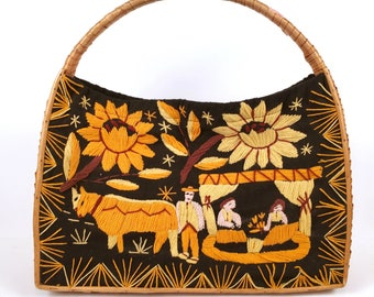 Vintage Black Market Bag with Orange and Yellow Vibrant Design
