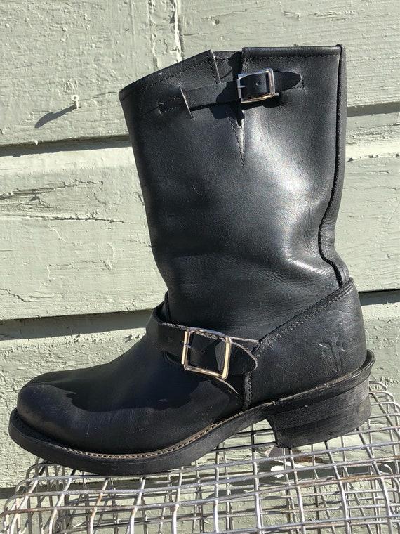 black leather Frye 12R engineer boots, US men's 7.5, women's 8.5, EU 41