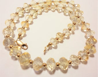 Pale Golden Faceted Citrine Bead Necklace Vintage AAA Quality Clear Pale Citrine Necklace with 14k GF Spacer Beads and 14l GF Lobster Clasp