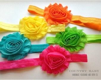 Bright Colors Headband Set...Baby Headbands...Shabby Rose Headband Set