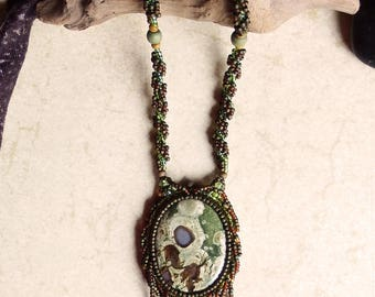 Handmade seed bead and rhyolite stone necklace