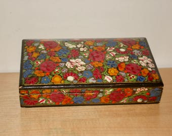 Hand Painted Laquered Box Made in India - Jewelry Trinket Stationery Wood Box Storage - Bohemian