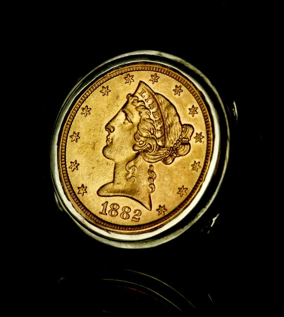 Gold US coin ring 1882 coin ring gold liberty half eagle