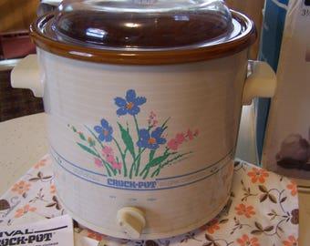 Vintage Rival Slow Cooker, with Box, Crock Pot, Floral On Beige,  3 1/2 Qt, 1970s-80s