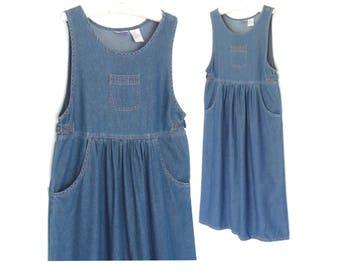 Denim Jumper Dress * Vintage Jean Dress * Pinafore Apron Dress * Medium