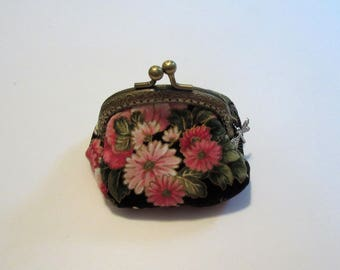 Black and Pink Asian Print Coin Purse, Bags and Purses, Small Coin Purse, Floral Coin Purse, Coin Purse, Change Purse, Pouches & Coin Purses