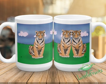 Tiger Kids Mug - Personalized Twins, Siblings, Big Brother or Sister Gift - Expecting Parents - Baby Shower Gift - Custom Grift for Kids