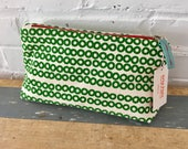 Kelly Green Deco Dot make up zipper bag, Ready To Ship Now