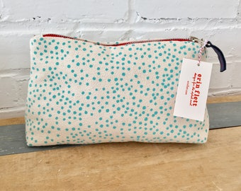 Aqua Polka Dot Make Up zipper bag, Ready To Ship Now