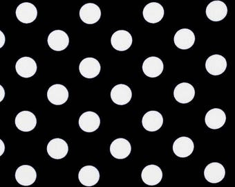 Brother and Sister black and white polka dot fabric - 1 yard