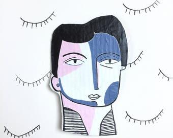 Portrait en papier mâché / pièce unique