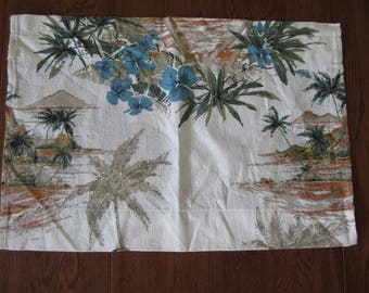 Vintage 1960's Hawaiian Barkcloth Cafe Curtain Palm Trees Flowers Mid Century Modern Fabric