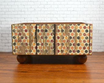 Wood storage bin decoupaged with a fall polka dot weathered wood design, organizing home or office,  recipe holder or flower arrangement