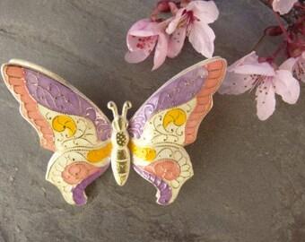 Vintage Pink Purple Yellow Butterfly Brooch - Double Layer West Germany - Vintage Jewelry - Monarch Brooch - 3D Brooch