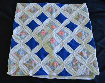 Vintage Cathedral Window Throw Pillow Case Cover Hand Made Hand Stitched Quilted