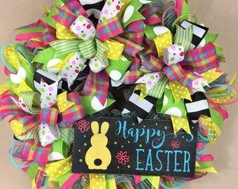 Easter Wreath, Spring Wreath, Happy Easter, Bunny Wreath