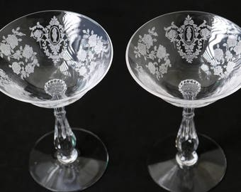 Two, Tiffin Cherokee Rose Etched Saucer Champagne Stems