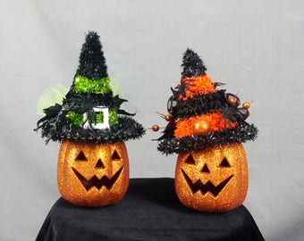 Halloween Jack O Lantern Centerpiece, Pumpkin Centerpiece, Glittered Pumpkins, Halloween Decor, Halloween Mantel, Halloween Witch