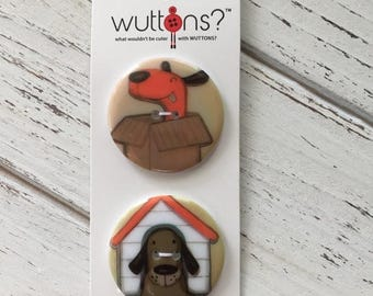 SALE Dog Buttons Wuttons Collecion by Button Lovers Blumenthal Lansing Carded Set
