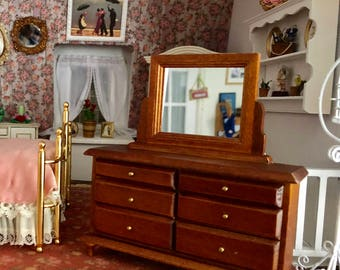 Miniature Dresser with Mirror, Walnut Wood Dresser With Drawers, Dollhouse 1:12 Scale Miniature, Dollhouse Furniture, Mini Dresser