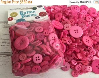 """SALE Hot Pink Buttons, Packaged Round Button Assortment, 5 oz bag, """"Cotton Candy"""" #BCB122 by Buttons Galore, Sewing, Crafting, Embellishment"""