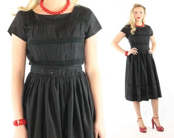 Vintage 60s Day Dress Black Cotton Full Skirt Short Sleeves Lace Inserts 1960s Medium M Large L Pinup Rockabilly