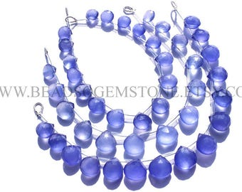 Gemstone Beads, Blue Chalcedony Faceted Heart (Quality A+) / 10 to 13 mm / 18 cm / CHALCE-040