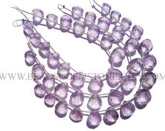 Semiprecious Stone, Pink Amethyst Carved Heart (Quality AA) / 9 to 12 mm / 18 cm / AMETHY*-119