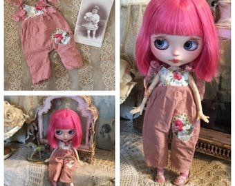 Blythe doll tattered overalls pink with floral print overalls handmade by Olive Grove Primitives