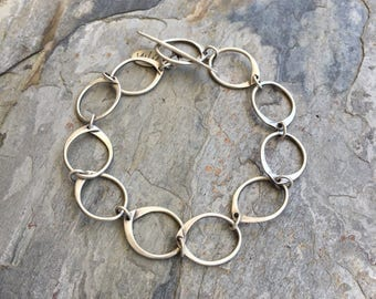 Simple Silver Chain Bracelet. Handmade Jewelry for Charity. BS13