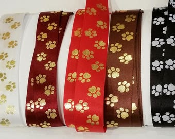PAWS Printed Satin RIBBON 5 color Asst Dog or Cat PET Paws 30 ft cut edge made in England for Craft, Food Gift Wrap, Pet Party Favors, cards