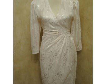 Vintage 1980s Ivory Cream Mermaid Brocade Grecian Disco Dress SUPER BEAUTIFUL