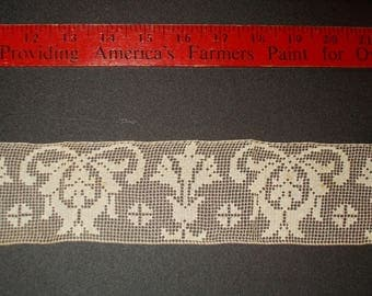 Filet Lace Cream - 2 1/2 inches wide - there is 31 inches Antique Lace 1930s