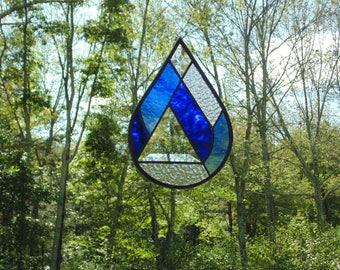 Stained glass rain drop, abstract glass art, blue raindrop suncatcher, light catcher, copper foil tiffany glass, April showers water drop