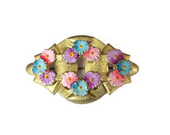 Art Deco Brooch Hand Painted Floral Gold Tone - Vintage Pin, Gold Tone Metal, Bridal Bouquet, Vintage Brooch, Art Deco Jewelry